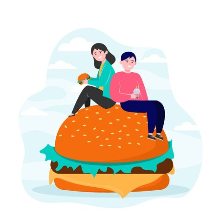Tiny people sitting on big burger and eating. Friend, meal, junk flat vector illustration. Nutrition and fast food concept for banner, website design or landing web page