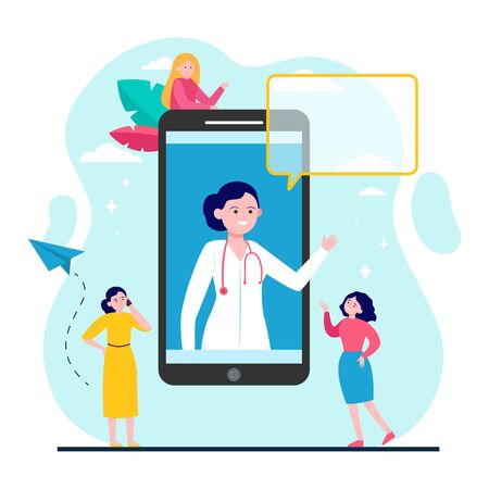 Doctor consultation online. Smartphone, chat, physician flat vector illustration. Healthcare and digital technology concept for banner, website design or landing web page