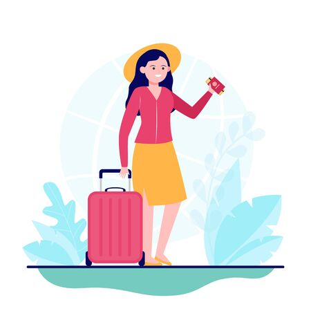Happy woman travelling to other country. Ticket, bag, journey flat vector illustration. Trip and vacation concept for banner, website design or landing web page