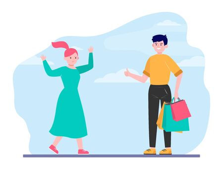 Happy couple shopping together. Support, bag, choosing flat vector illustration. . Relationship and family concept for banner, website design or landing web page