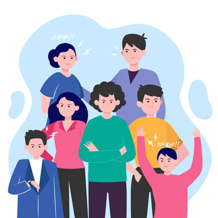 Angry people brawling isolated flat vector illustration. Young arrogant men and women annoying. Communication, behavior and society problem concept