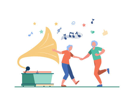 Happy old people dancing isolated flat vector illustration. Cartoon funny active elderly couple having fun together. Party, lifestyle and entertainment concept