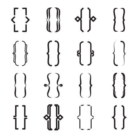 Different curly brackets icon set. Vintage braces, modern lines, ornament shapes vector illustration collection. Typography and type design concept