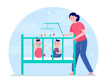 Mom calming down twin babies in crib. New mother getting kids into bed flat vector illustration. Motherhood, bedtime, child care concept for banner, website design or landing web page