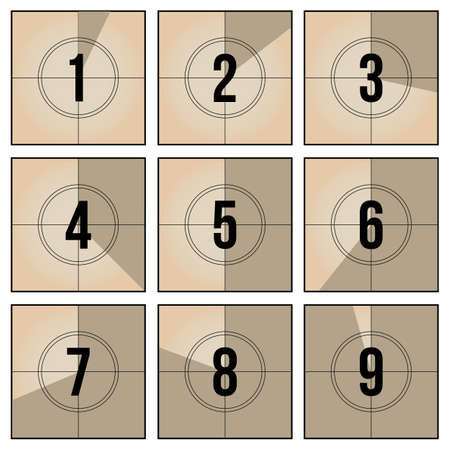 Vintage film frame countdown set. Retro video number sequence and counter frames vector illustration collection. Cinematography and television concept