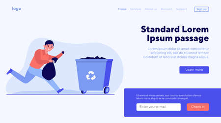 Young man running and carrying trash out. Garbage, container, bin flat vector illustration. Disposal and environment concept for banner, website design or landing web page Иллюстрация
