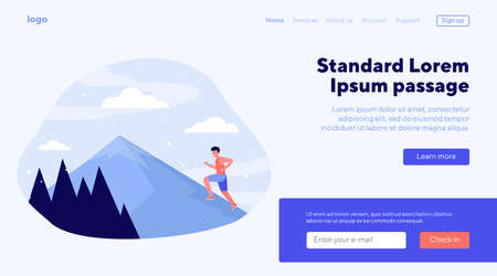 Young man climbing on mountain. Running, route, peak flat vector illustration. Sport and nature concept for banner, website design or landing web page Ilustração