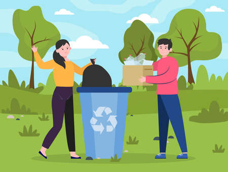 People placing reusable waste into dumpster. Men and woman with plastic garbage at dustbin flat vector illustration. Recycling, trash collection concept for banner, website design or landing web page