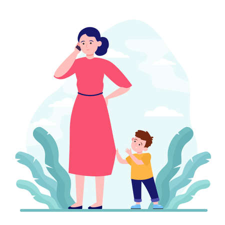 Mom talking on phone while walk with son outdoors. Upset boy attracting mothers attention flat vector illustration. Motherhood problem concept for banner, website design or landing web page 免版税图像 - 151047636