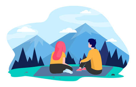 Young couple traveling in mountains. Girl and guy sitting on ground and admiring peaks flat vector illustration. Hiking, outdoor tourism concept for banner, website design or landing web page