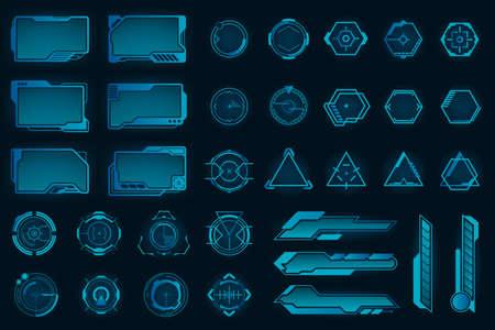 Different HUD elements flat frames set. Modern VR user interface, dashboard and infographic framework vector illustration collection. Digital technology and design concept