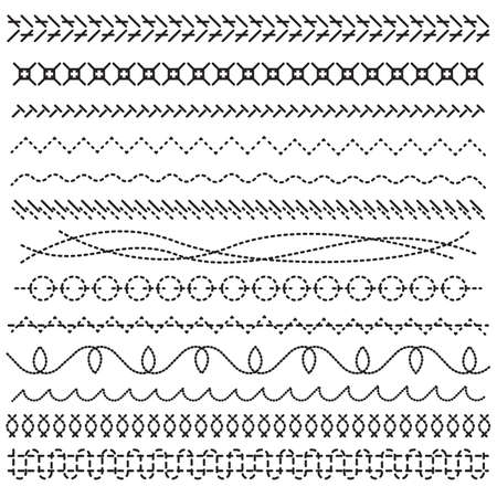 Different black stitch lines and seams set. Modern abstract sewing pattern, thread border vector illustration collection. Embroidery and design concept