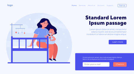 New mom holding and soothing baby. Crib, toddler, playing with child flat illustration. Childhood, childcare, parenthood concept for banner, website design or landing web page  イラスト・ベクター素材
