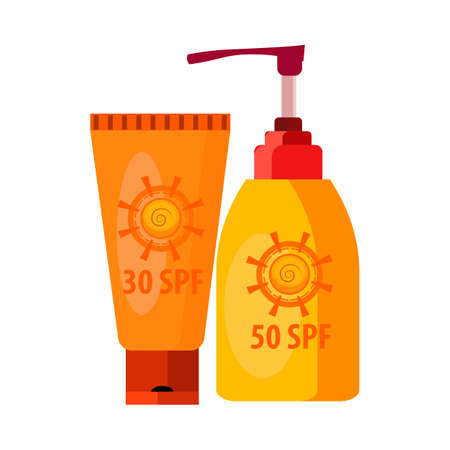 Sunblock cream. Tube, flask, lotion, sunscreen. illustration can be used for topics like summer vacation, beach, seaside, tan, skin care 版權商用圖片