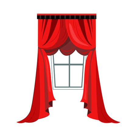 Red drapery with pelmets flat icon. Window, interior, living room. Curtains concept. illustration can be used for topics like interior design, decor, home