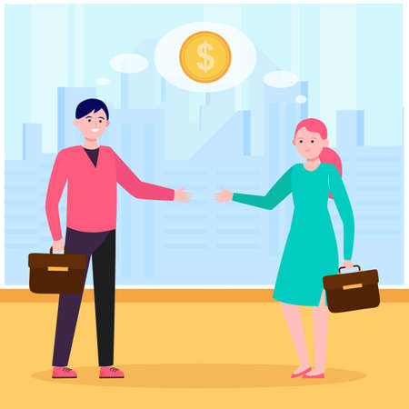 Smiling business partners thinking about financial deal. Handshake, contract, coin flat vector illustration. Partnership and marketing concept for banner, website design or landing web page