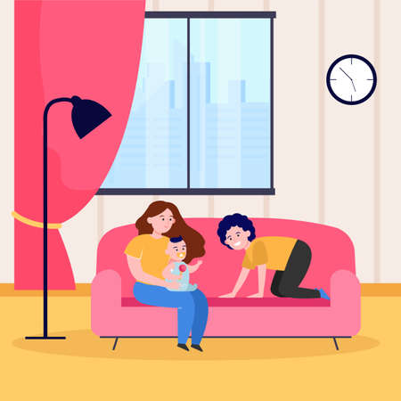 Happy parents playing with infant on sofa. Son, couch, baby flat vector illustration. Family and parenthood concept for banner, website design or landing web page Ilustrace