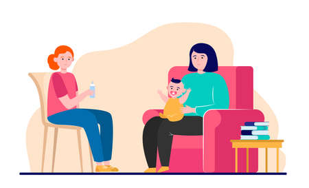 Happy mother sitting on armchair with infant. Help, mom, baby flat vector illustration. Family and parenthood concept for banner, website design or landing web page