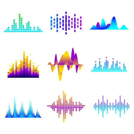 Sound waves set. Colorful soundwave elements of gradient colors, studio audio recording equalizer, audio signals. Multicolored waveforms for radio frequency and music soundtrack concept illustrations
