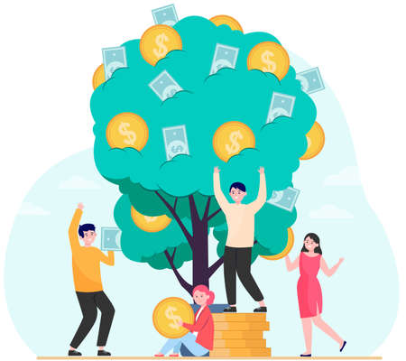 Finance, revenue, financial growth concept. Rich people growing plant with cash. Money tree metaphor for prosperity, wealth, investing topics illustrations