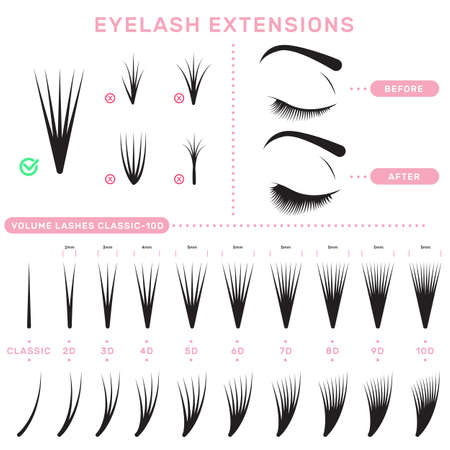 Eyelash extension infographics. Volume boost guide, fake lashes application, eyelashes cluster set. Can be used for beauty care or salon concept Vector Illustratie