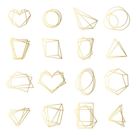 Golden frames set. Irregular geometric shapes with gold contours, elegant borders, abstract 3D circles, hexagons, triangles. Isolated vector illustrations for wedding invitation cards templates Illustration
