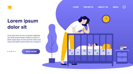 Depressed tired mom giving bottle to baby. Sad sleepy new mother leaning on crib to feed newborn child. Flat vector illustration for postnatal anxiety, postpartum depression, maternity blues concept Ilustrace
