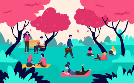 People relaxing in park with blooming pink cherry trees. Men and women walking and lying on grass. Vector illustration for hanami, adorable nature, sakura blossom season