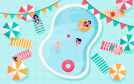 Happy people relaxing at swimming pool. Young men and women in swimwear taking sun, floating on rubber rings, playing ball in water. Can be used for pool party, summer activity concepts Ilustracja