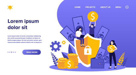 Money insurance concept. People protecting their cash and savings with shield. Flat vector illustration for safe loan, assurance, finance, guarantee topics