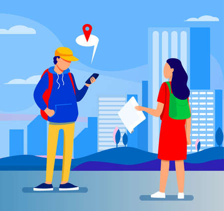 Tourist with paper map asking destination. Man explaining way to woman, using location app on cell flat vector illustration. Navigation, travel concept for banner, website design or landing web page Vector Illustration
