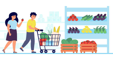 Happy customers buying food in grocery store isolated flat vector illustration. Cartoon shoppers putting fruits and vegetables in cart. Market, shopping and consumerism concept 向量圖像