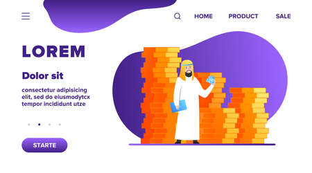 Arabic business man. Person in traditional ethnic clothes standing at huge heap of money cash flat vector illustration. Finance, success, capital concept for banner, website design or landing web page
