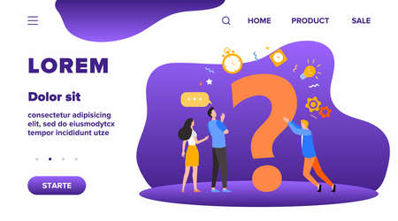 People searching solutions and asking for help. Men and women discussing huge question mark. Vector illustration for communication, assistance, consulting concept Illustration