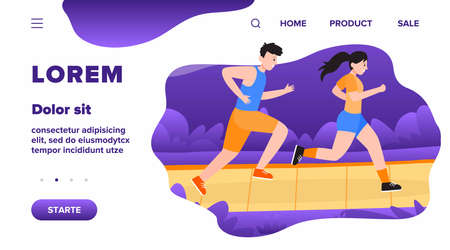 Two happy people jogging in park. Couple of athletes running for marathon together. Flat vector illustration for runners, fitness, sport, healthy lifestyle concepts