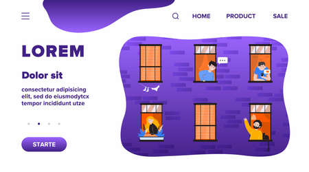 Apartment open windows with friendly neighbors flat vector illustration. Young people living in one building, man with cat talking with other guy. Lifestyle and friendship concept