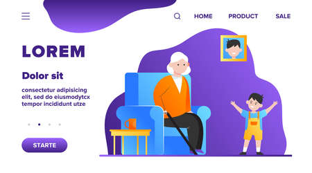 Grandma sitting in armchair and little grandson smiling. Kid, boy, generation flat vector illustration. Family and parenting concept for banner, website design or landing web page