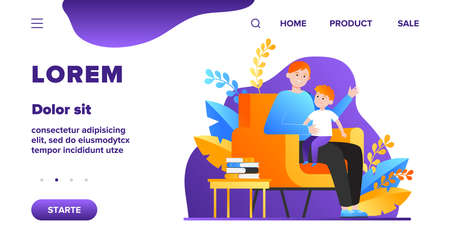 Son sitting on father knees and listening story. Armchair, book, dad flat vector illustration. Family and childhood concept for banner, website design or landing web page