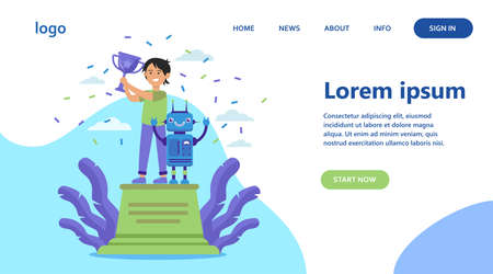 School child winning robotics competition. Kid and robot standing on winners podium and holding cup. Flat vector illustration for programming, engineering, success concepts