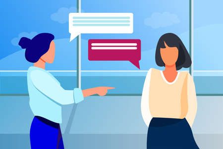 Woman pointing to girl and talking with her. Hand, forefinger, speech bubble flat vector illustration. Communication and conversation concept for banner, website design or landing web page Vektorgrafik