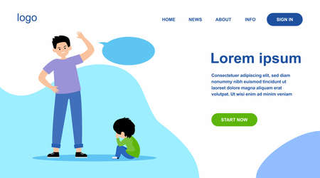 Angry father scolding his little son. Dad, kid, crying flat vector illustration. Annoyance and parental abuse concept for banner, website design or landing web page