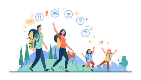 Family hiking or location app concept. Father, mother and children walking outdoors, carrying backpacks and picnic basket. Vector illustration for camping, adventure travel, active hikers topics