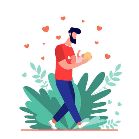 Young dad walking and carrying baby. New father admiring child flat illustration. Love, fatherhood, childcare concept for banner, website design or landing web page
