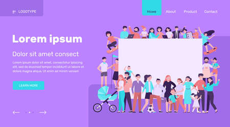 Crowd of happy people with blank placard flat vector illustration. Cartoon multicultural men and women standing together. Community, society and population concept