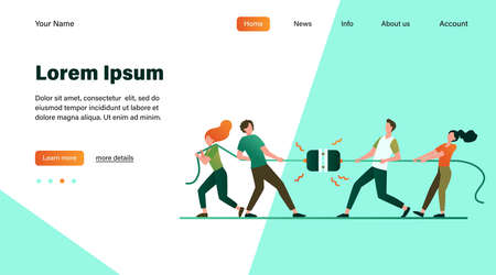 Groups of people pulling rope in tug of war play. Struggling team competing with each other. Vector illustration for game, contest, competition, confrontation concept Illustration