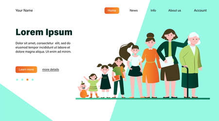 Cartoon woman in different age flat vector illustration. Female character growing cycle from child to old person. Generation and life development concept