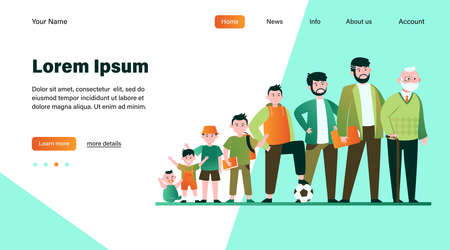 Cartoon man in different age flat vector illustration. Male character growth cycle from child to old person set. Generation and life evolution concept Ilustracja