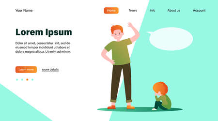 Angry father scolding his little son. Dad, kid, crying flat illustration. Annoyance and parental abuse concept for banner, website design or landing web page