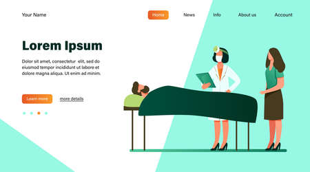 Doctor with disease history near patient bed. Hospital, analysis, guest flat illustration. Medicine and healthcare concept for banner, website design or landing web page Vecteurs