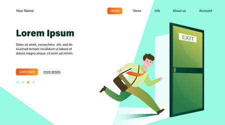 Businessman running to escape exit. Emergency exit open door, evacuation way from office building. Flat illustration for fire, warning, safe way direction concepts Ilustración de vector